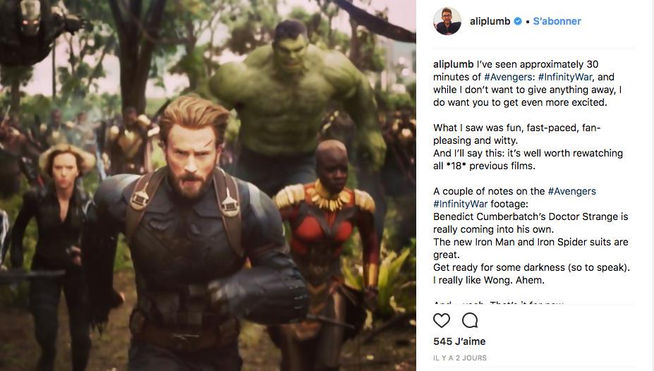 Avengers Infinity War : le public est conquis devant les 25 premières minutes