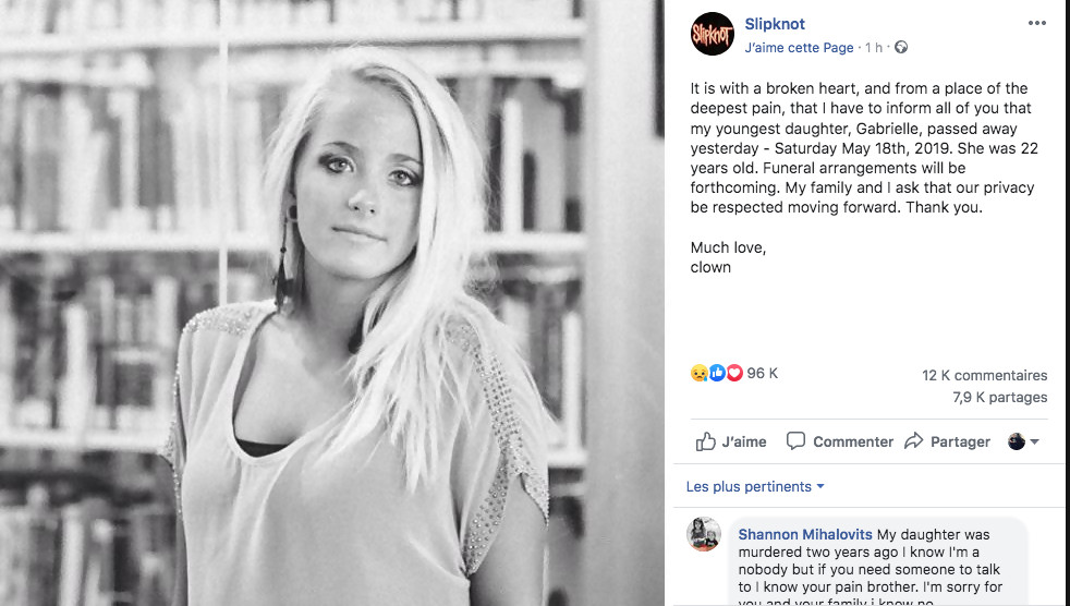 Le batteur de Slipknot en deuil de sa fille de 22 ans