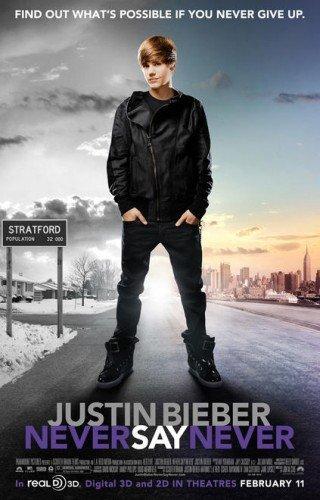 Une affiche pour Never Say Never avec Justin Bieber