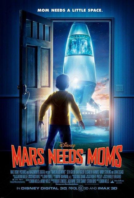 Première affiche de Mars Needs Mums, un film de Simon Wells (Fievel au Far West)